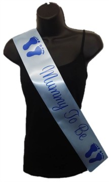 Pale Blue Mummy To Be Baby Shower Party Satin Ribbon Sash - Blue Baby Feet