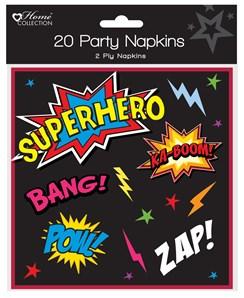 Pack 20 Childrens Birthday Party Paper Napkins - Boys Superhero