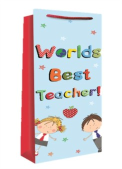 "Thank You Teacher Bottle Gift Bag - World's Best Teacher 14"" x 5"" x 3.5"""