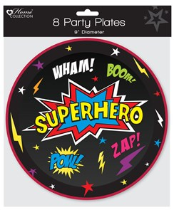 """Pack of 8 Childrens Birthday Party 9"""" Paper Plates - Boys Superhero"""