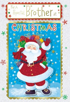 """Brother Christmas Card - Glitter Santa with Gifts Stars & Snowflakes  10"""" x 7"""""""