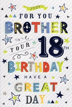 """ICG Brother 18th Birthday Card - Multicoloured Writing Blue Silver Foil 9"""" x 6"""""""