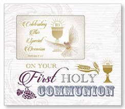 """On Your First Holy Communion Art Deco Photo Frame - Chalice & Dove 8.5"""" x 9"""""""
