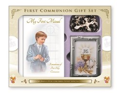 Boy's First Holy Communion Missal Book, Rosary Beads & Photo Frame Gift Set