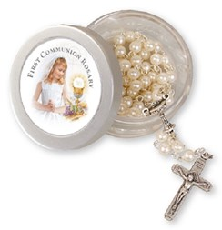 Girl's First Holy Communion Imitation Pearl Rosary Beads & Screw Top Gift Box