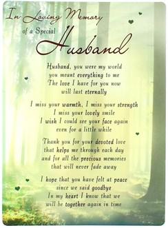 "Loving Memory Open Graveside Memorial Card - Special Husband 6.5"" x 4.75"""