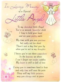"Loving Memory Open Graveside Memorial Card - Special Little Angel 6.5"" x 4.75"""