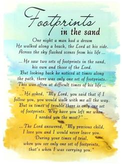 "Loving Memory Open Graveside Memorial Card - Footprints In The Sand 6.5"" x 4.75"""