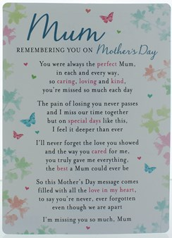 "Loving Memory Graveside Memorial Card 6.5x4.75"" Mum Remembering You Mother's Day"