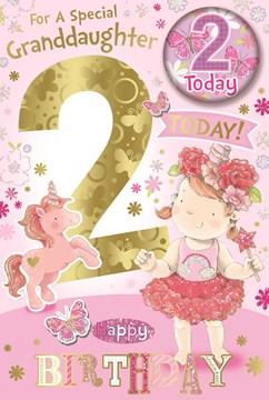 "Granddaughter 2nd Birthday Card & Badge - 2 Today Princess & Unicorn 9"" x 6"""