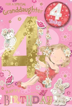 """Granddaughter 4th Birthday Card & Badge - Age 4 Girl on Swing Gold Foil 9x6"""""""