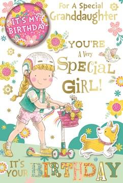 """Granddaughter Birthday Card & Badge - Little Girl on Scooter Dog & Glitter 9""""x6"""""""