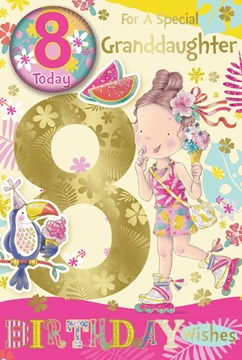 """Granddaughter 8th Birthday Card & Badge Age 8 Girl with Ice Cream Gold Foil 9x6"""""""