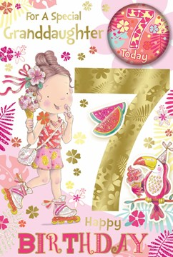"""Granddaughter 7th Birthday Card & Badge - 7 Today Girl with Ice Cream 9"""" x 6"""""""