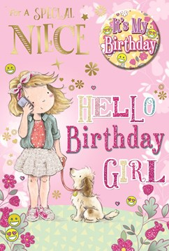 """Niece Birthday Card & Badge - Little Girl, Mobile Phone, Puppy & Flowers 9"""" x 6"""""""
