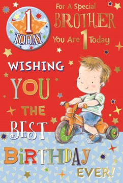 """Brother 1st Birthday Card & Badge - 1 Today Little Boy, Tricycle & Stars 9"""" x 6"""""""