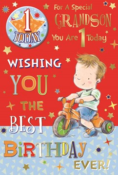 """Grandson 1st Birthday Card & Badge - 1 Today Young Boy, Tricycle & Stars 9"""" x 6"""""""