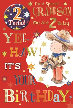 """Grandson 2nd Birthday Card & Badge - 2 Today Young Cowboy, Horse & Stars 9"""" x 6"""""""