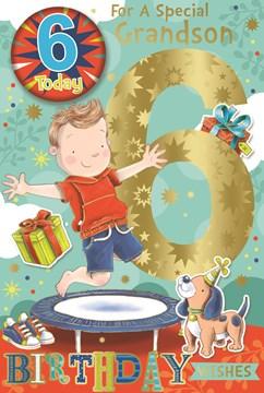 "Grandson 6th Birthday Card & Badge - 6 Today Boy on Trampoline Gold Foil 9"" x 6"""