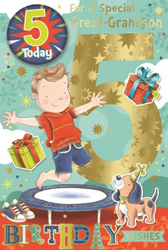 """Great-Grandson 5th Birthday Card & Badge - Boy on Trampoline with Gold Foil 9x6"""""""