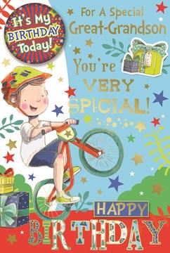 "Great Grandson Birthday Card & Badge - Little Boy on Bike Gifts & Gold Foil 9x6"""