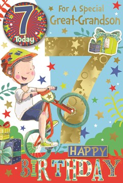 """Great Grandson 7th Birthday Card & Badge - Boy on Bike with Gold Foil 9"""" x 6"""""""