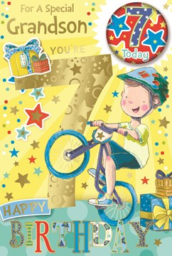 """Grandson 7th Birthday Card & Badge - 7 Today Boy on Bike with Gold Foil 9x6"""""""
