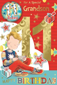 """Grandson 11th Birthday Card & Badge - 11 Today Boy with Games Controller 9"""" x 6"""""""