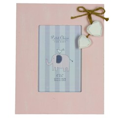 "Pink Shabby Chic Hearts Baby Girl Photo Frame 9.25"" x 7.5"" - Birth, Christening"