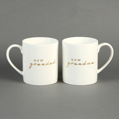 Set Of 2 New Grandma & Grandad Porcelain Mugs Gift Set - Birth, Christening Gift
