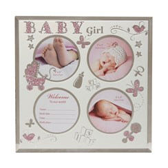 "Triple Baby Girl Pink Glitter Motif & Glass Photo Frame 8.5"" x 8.5"" - Birth Gift"