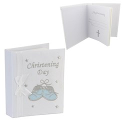 """White Christening Day Photo Album - Embroidered Baby Blue Booties 6.75"""" x 5.75"""""""