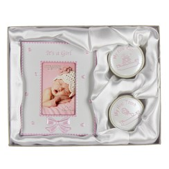 "It's A Girl Baby Pink Photo Frame, First Tooth & First Curl Gift Set 6.25"" x 8"""