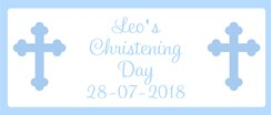 Blue Christening Day Personalised Landscape Party Banner - Add Your Own Message