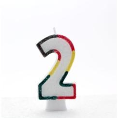 """Number 2 Multicoloured Double Sided Glitter Birthday Party Candle - 3""""/7.5cm"""