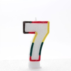 "Number 7 Multicoloured Double Sided Glitter Birthday Party Candle - 3""/7.5cm"