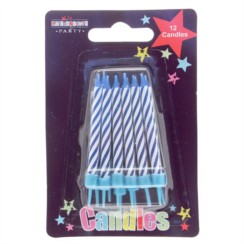 Pack Of 12 Blue & White Stripes Glitter Birthday Party Wax Cake Candles