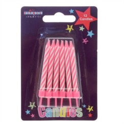 Pack Of 12 Pink & White Stripes Glitter Birthday Party Wax Cake Candles