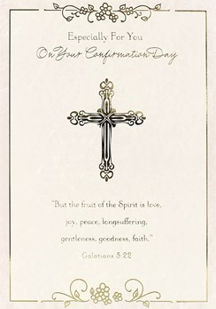 """Confirmation Day Greetings Card - Gold Cross & Little Pink Flowers 7.5"""" x 5.25"""""""