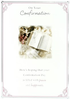 """Confirmation Day Greetings Card - Bible, Rosary Beads & Pink Roses 7.5"""" x 5.25"""""""