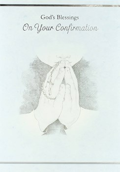 "Confirmation Day Greetings Card - Young Boy Praying & Rosary Beads 7.5"" x 5.25"""