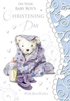 "Baby Boy Christening Greeting Card - Grey Bear, Bottle & Blue Blanket 7.5x5.25"""