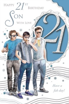 "Son's 21st Birthday Card - 21 Today Men Listening To Music Drinking Beer 9"" x 6"""