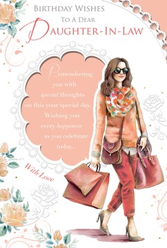 "Daughter-in-Law Birthday Card - Stylish Woman Carrying Shopping Bags 9"" x 6"""