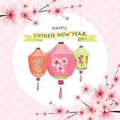 """Happy Chinese New Year Greetings Card - Bright Lanterns & Orchids 5.75"""" x 5.75"""""""