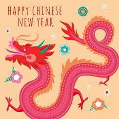 """Happy Chinese New Year Greetings Card - Red Dragon & Big Flowers 5.75"""" x 5.75"""""""