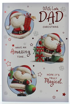 "Dad Christmas Card -Santa In Circles With Gifts Red Foil & Stars 7.5"" x 5.25"""