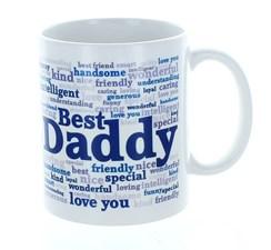Best Daddy Typo White 11oz Mug In Blue Gift Box - Birthday, Father's Day, Xmas