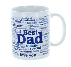 Best Dad Typo White 11oz Mug In Blue Gift Box - Birthday, Father's Day, Xmas