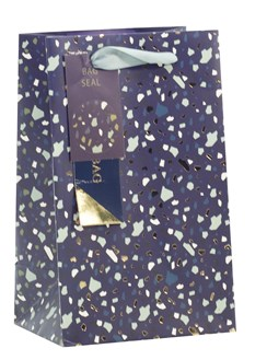 "Small Male Gift Bag - Blue with Green Gold Foil Speckles 7.75"" x 6.25"""